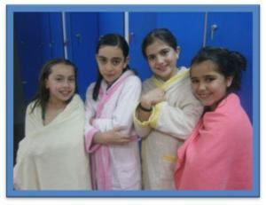 Nos duchamos en el campamento